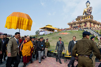 His Holiness the Dalai Lama on his way to perform the consecration of the Tathagata Tsal statue, Ravangla, Sikkim, India 25 March 2013. Photo/Tenzin Choejor/OHHDL