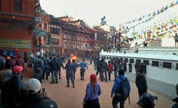The self-immolation of a Tibetan exile drew the police Wednesday in Katmandu, Nepal.