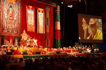 His Holiness the Dalai during the teachings at the Forum Fribourg at Fribourg, Switzerland, on April 14, 2013. Photo/Manuel Bauer