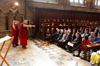 His Holiness the Dalai Lama speaking to members of the University of Cambridge at St John's College in Cambridge, England, on April 19, 2013. Photo/John Thompson/Cambridge