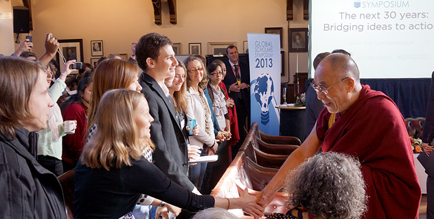 His Holiness with Cambridge students