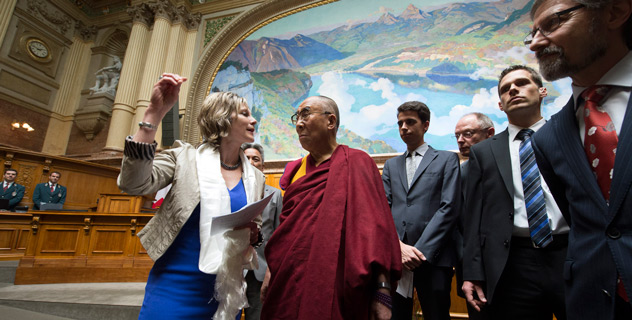 His Holiness the Dalai Lama with HE Maya Graf, President of the National Council, at the Swiss Parliament Building in Bern, Switzerland, on April 16, 2013. Photo/Manuel Bauer