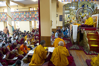 His Holiness the Dalai Lama during opening prayers at the Main Tibetan Temple at the start of the first day of his four day teaching given at the request of a group from India in Dharamsala, India on June 1, 2013. Photo/Abhishek Madhukar