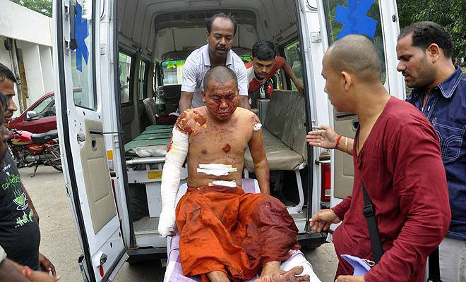 A monk badly injured by the blast in Mahabodhi Bodhgaya