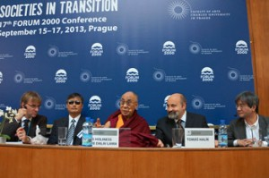His Holiness the Dalai Lama with fellow panelist during their discussion on Democracy, Human Rights and Religious Freedom in East Asia at Charles University in Prague, Czech Republic on September 17, 2013. Photo/Jeremy Russell/OHHDL