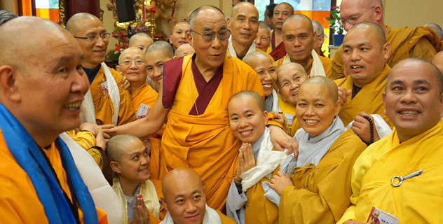 His Holiness the Dalai Lama with members of the monastic community at Vien Giac Vietnamese Buddhist Temple in Hanover, Germany on September 20, 2013. Photo/Jeremy Russell/OHHDL