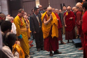 His Holiness the Dalai Lama arriving at the Kempinski Hotel at the start of the second day of his teachings for a group of Russian Buddhists in New Delhi, India on December 22, 2013. Photo/Kate Surzhok