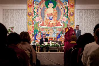 "His Holiness the Dalai Lama speaking during his public talk on ""Shift to a Peaceful 21st Century"" in Shizuoka, Japan on November 21, 2013. Photo/Office of Tibet, Japan"