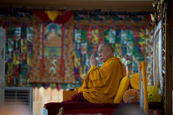 His Holiness the Dalai Lama during the fifth day of his teachings at Sera Jey Monastery in Bylakuppe, Karnatak, India on December 30, 2013. Photo/Tenzin Choejor/OHHDL