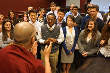 His Holiness talking to students during his visit to their classroom at Emory University in Atlanta, Georgia on October 10, 2013. Photo/Jeremy Russell/OHHDL