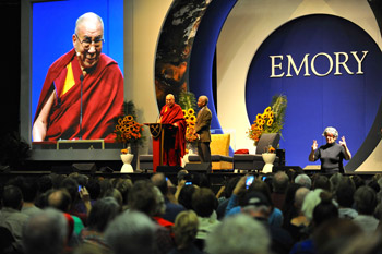 """His Holiness the Dalai Lama speaking during his talk on """"The Pillars of Responsible Citizenship in the 21st Century Global Village"""" at the Arena at the Gwinnet Center in Atlanta, Georgia, on October 8, 2012. Photo/Sonam Zoksang"""