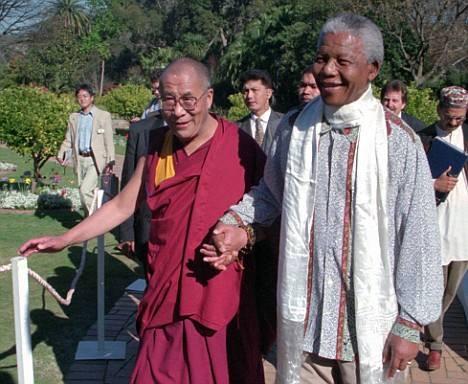 Sua santità il Dalai Lama con Nelson Mandela