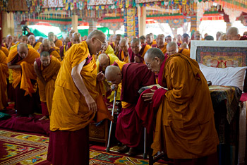 His Holiness the Dalai Lama arriving at the start of the second day of his teachings at Sera Jey Monastery in Bylakuppe, Karnataka, India on December 26, 2013. Photo/Rio Helmi