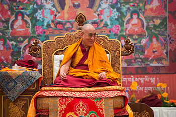 His Holiness the Dalai Lama during his teaching at the Kempinski Ambience Hotel in New Delhi, India on December 2, 2013. Photo/Lobsang Kunga/OHHDL