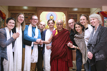 His Holiness the Dalai Lama with Russian journalists after their interview in New Delhi, India on December 20, 2013. Photo/Igor/SaveTibetRussia