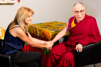 Adela Micha interviewing His Holiness the Dalai Lama for Televisa, the biggest TV network in Mexico, in Mexico City, Mexico on October 14, 2013. Photo/Oscar Fernandez