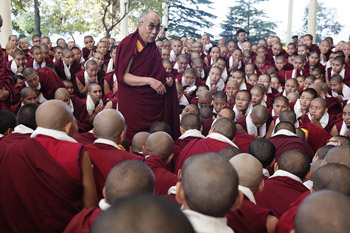 His Holiness the Dalai Lama speaking to nuns from several nunneries who had taken part in the just concluded annual winter debate session during their meeting at the Main Tibetan Temple in Dharamsala, India on November 3, 2013. Photo/Tenzin Choejor/OHHDL