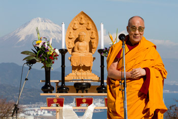 His Holiness the Dalai Lama speaking at the Interfaith Service for World Peace in Shizuoka, Japan on November 22, 2013. Photo/Office of Tibet, Japan