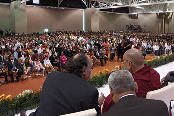 His Holiness the Dalai Lama speaking during his public talk on The Art of Happiness at the Convention Center in Zacatecas, Mexico on October 16, 2013. Photo/Jeremy Russell/OHHDL