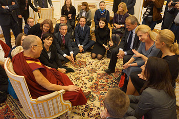 His Holiness the Dalai Lama speaking to Polish parliamentarians in Warsaw, Poland on October 24, 2013. Photo/Jeremy Russell/OHHDL