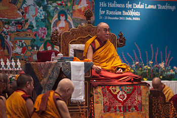 His Holiness the Dalai Lama speaking during the first day of his three day teaching at the request of a group from Russia in New Delhi, India on December 21, 2013. Photo/Kate Surzhok