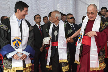 His Holiness the Dalai Lama and the elected head of the Central Tibetan Administration Sikyong Dr Lobsang Sangay enjoy a moment of laughter as they prepare for Martin Luther Christian University's Convocation ceremony in Shillong, Meghalaya, India on February 3, 2014. Photo/Tenzin Choejor/OHHDL