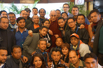 His Holiness the Dalai Lama posing with members of the press after their meeting in Shillong, Meghalaya, India on February 5, 2014. Photo/Jeremy Russell/OHHDL