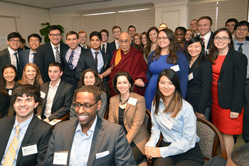 His Holiness the Dalai Lama with students and potential future leaders after their meeting at the American Enterprise Institute in Washington DC on February 19, 2014. Photo/Patrick G. Ryan