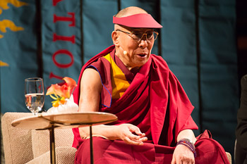 His Holiness the Dalai Lama speaking at Davies Symphony Hall in San Francisco, California on February 22, 2014. Photo/American Himalayan Foundation