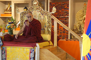 His Holiness the Dalai Lama speaking at the inauguration of the Tibetan Community Center in Richmond, California on February 23, 2014. Photo/Jeremy Russell