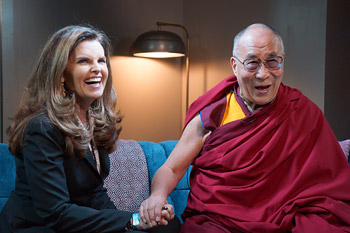His Holiness the Dalai Lama with Maria Shriver during their interview for NBC News in Los Angeles on February 25, 2014. Photo/Jeremy Russell/OHHDL