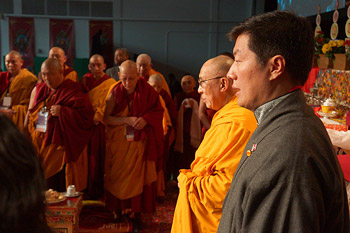 His Holiness the Dalai Lama and Sikyong Dr Lobsang Sangay during the playing of the Tibetan and American national anthems during the Tibetan New Year's Celebrations held at Augsburg College in Minneapolis, Minnesota on March 2, 2014. Photo/Jeremy Russell/OHHDL