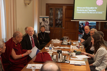 His Holiness the Dalai Lama and members of the Mind & Life Institute Board discussing 'Ethics, Education and Human Development' in Rochester, Minnesota on March 3, 2014. Photo/Jeremy Russell/OHHDL