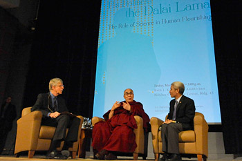 His Holiness the Dalai Lama speaking at the National Institutes of Health iin Washington DC on March 7, 2014. Photo/Sonam Zoksang