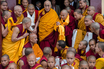 His Holiness the Dalai Lama with the monks of Jhonang Takten Phuntsok Choeling monastery in Shimla, HP, India on March 18, 2014. Photo/Tenzin Choejor/OHHDL