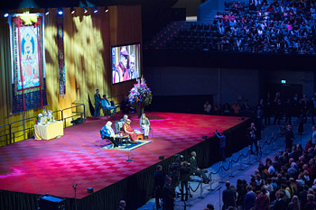 A view of the stage at the Ahoy Stadium during His Holiness the Dalai Lama's talk  in Rotterdam, Holland on May 11,2014. Photo/Jurjen Donkers