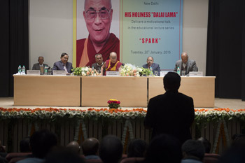 His Holiness the Dalai Lama answering questions from the audience during his talk at Dr. Ram Manohar Lohia Hospital in New Delhi, India on January 20, 2015. Photo/Tenzin Choejor/OHHDL