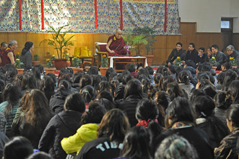 His Holiness the Dalai Lama speaking to students and staff living at the Tibetan Youth Hostel in New Delhi, India on January 25, 2015. Photo/Tenzin Jamphel/OHHDL
