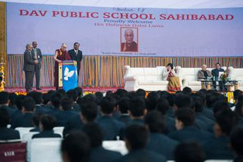His Holiness the Dalai Lama speaking at DAV School in Sahibabad, UP, India on January 27,2015. Photo/Tenzin Choejor/OHHDL