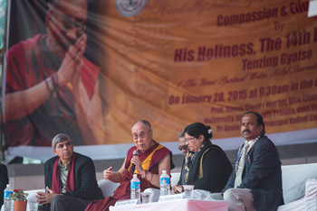His Holiness the Dalai Lama answering questions from the audience during his talk at University of Delhi's Kalindi College in New Delhi, India on January 28, 2015. Photo/Tenzin Choejor/OHHDL