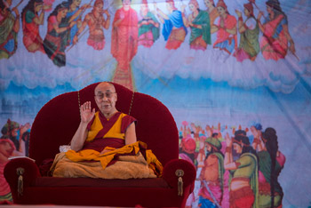His Holiness the Dalai Lama speaking during his teaching at the YBS grounds in Sankisa, UP, India on January 31, 2015. Photo/Tenzin Choejor/OHHDL
