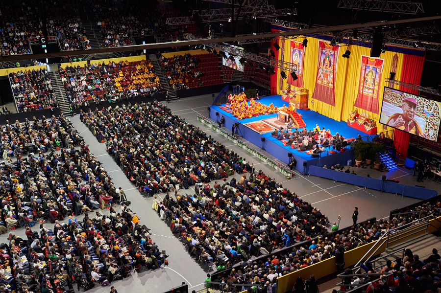 View of the stage at St. Jakobshalle during His Holiness the Dalai Lama's teaching in Basel, Switzerland on February 7, 2015. Photo/Olivier Adam