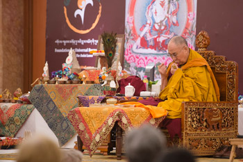 His Holiness the Dalai Lama conducting preparatory rituals before conferring the White Manjushri permission in New Delhi, India on March 22, 2015. Photo/Tenzin Choejor/OHHDL