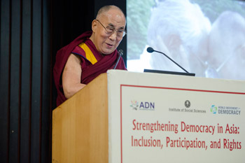 "His Holiness the Dalai Lama delivering the inaugural address at the conference on ""Strengthening Democracy in Asia"" at the India International Centre in New Delhi, India on March 23, 2015. Photo/Tenzin Choejor/OHHDL"