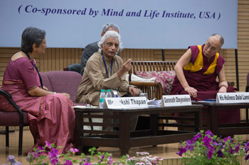 Professor Gananath Obeyesekere delivering his presentation at the international conference on Science, Ethics and Education at the University of Delhi in Delhi, India on March 24, 2015. Photo/Tenzin Choejor/OHHDL