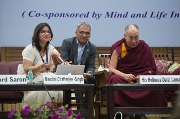 Nandini Chatterjee-Singh speaking during her presentation at the second day of the Science Ethics and Education conference at Delhi University in Delhi, India on March 25, 2015. Photo/Tenzin Chojeor/OHHDL