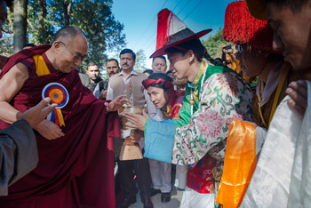 His Holiness the Dalai Lama is offered a traditional welcome on his arrival at TIPA to attend the opening day of the 20th Shotön Festival in Dharamsala, HP, India on March 27, 2015. Photo/Tenzin Choejor/OHHDL