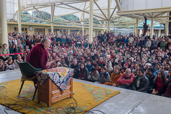 A view of many of the over 1100 foreigners from 56 countries listening to His Holiness the Dalai Lama speaking at the Main Tibetan Temple in Dharamsala, HP, India on March 30, 2015. Photo/Tenzin Choejor/OHHDL