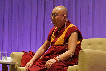 """His Holiness the Dalai Lama during his talk on """"Universal Responsibility"""" in Sapporo, Japan on April 3, 2015. Photo/Jeremy Russell/OHHDL"""