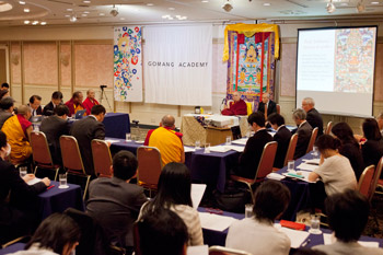 His Holiness the Dalai Lama participating in a conference on Buddhist studies organised by the Drepung Gomang Academy of Japan in Tokyo, Japan on April 5, 2015. Photo/Tenzin Jigmey